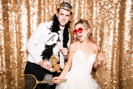 Modern photo booth, The Fancy Booth, open-air photo booth, sarasota photo booth, wedding photo booth, gold sequins, gold sequin backdrop, Drop it Modern, sequin backdrop, Sarasota Yacht Club wedding